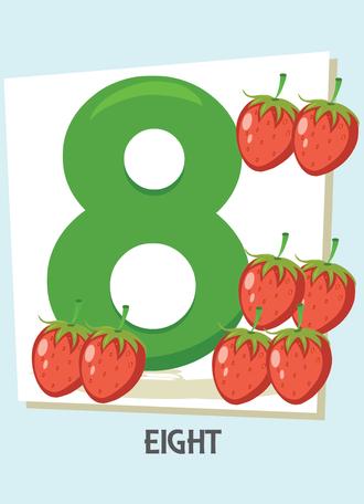 İngilizce sayılar resimlerle gösterilir.(8-Eight-Sekiz)
