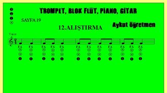 Sayfa 19 da 12.Alıştırma Nota Okuma Dersi Solfej Blok Flüt Piyano Keman Gitar aykut ö... izle