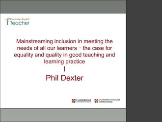 Inclusion - Meeting the needs of all learners Dexter izle