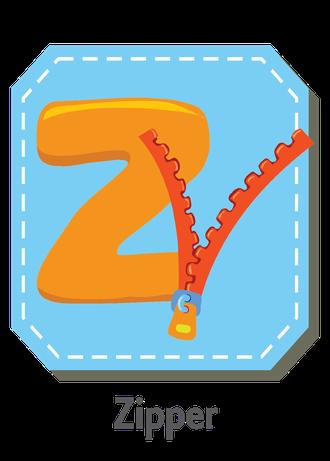 """İngilizce alfabede bir resimle """"z"""" harfini tanır.(Zipper)"""