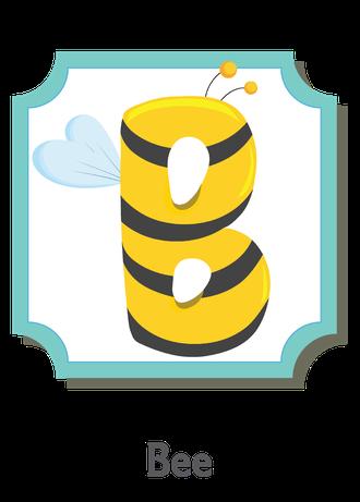 """İngilizce alfabede bir resimle """"b"""" harfini tanır.(Bee)"""