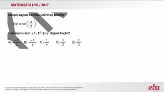 Trigonometrik Fonksiyonun Türevi (2017 LYS-MATEMATİK) izle