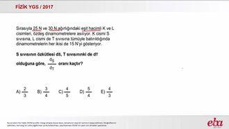 Kaldırma Kuvveti  (2017 YGS-Fizik) izle