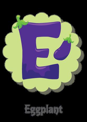 """İngilizce alfabede bir resimle """"e"""" harfini tanır.(Eggplant)"""