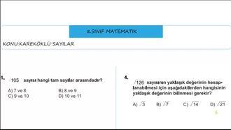 8.sınıf kareköklü sayılar soru çözümü izle